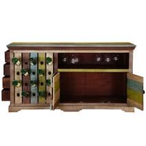Hamler Modern Rustic Mango Wood 2 Sided Wine Bar Cabinet