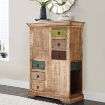 Modern Rustic Mango Wood 3 Sided 3 Drawer Chest