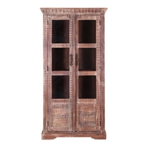 Modern Pioneer Mango Wood Double Door Display Cabinet