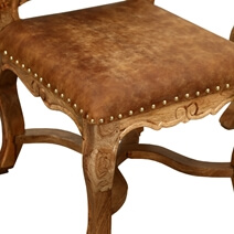 Brockton Vintage Solid Wood Leather Upholstered Dining Chair