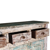 Winchester Distressed Rustic Reclaimed Wood 4 Drawer Large Sideboard