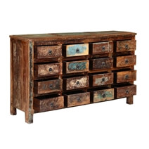 Appalachian Handcrafted Rustic Reclaimed Wood 16 Drawer Dresser