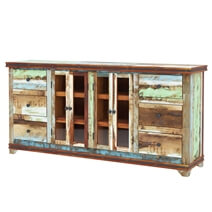 Tarlton Handmade Rustic Reclaimed Wood 6 Drawer Large Buffet Cabinet