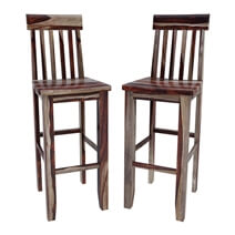 Lincoln Study Solid Wood Tall Wine Bar Chair (Set of 2)