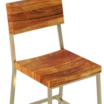 Modern Industrial Solid Wood Tall Bar Chair (Set of 2)