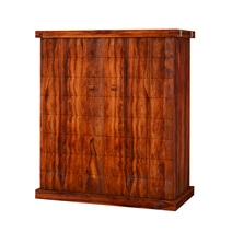 Richmond Rustic Solid Wood Expandable Bar Cabinet with Wine Storage