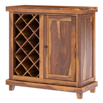 Virginia Handcrafted Rustic Solid Wood Wine Bar Cabinet