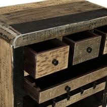 Black & Grey Industrial Reclaimed Wood Rolling Wine Bar Cabinet