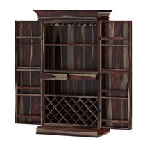 Ohio Rustic Solid Wood Tall and Large Wine Bar Cabinet