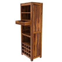 California Contemporary Handcrafted Solid Wood Rustic Tall Bar Cabinet