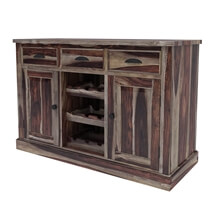 Hosford Rustic Solid Wood Bar Buffet Cabinet with Wine Display Rack