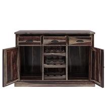 Hosford Rustic Solid Wood 3 Drawer Wine Rack Bar Sideboard Cabinet