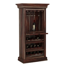 Alsace Handcrafted Solid Wood Tall Wine Bar Cabinet