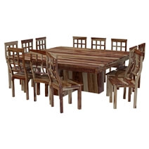 Dallas Ranch Square Pedestal Solid Wood 14 Piece Dining Room Set
