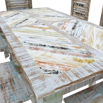 Tucson Rainbow Rustic Reclaimed Wood 9Pc Dining Room Set
