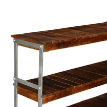 Rochester Industrial Mango Wood 3-Tier Rolling Console Hall Table