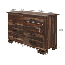Athena Rustic Solid Wood 8 Drawer Bedroom Double Dresser