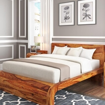 Rebecca Solid Wood Curved Platform Bed