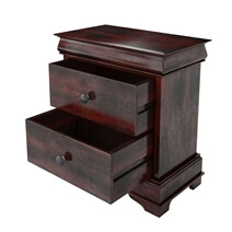 Classic Sleigh Solid Wood Nightstand with Two Drawers