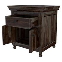 Jerold Modern Rustic Solid Wood Shutter Door 1 Drawer Nightstand