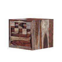 Checkered Solid Wood Flip Door Captains Bedside Nightstand