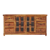 Idaho Modern Rustic Solid Wood 6 Drawer Large Sideboard Cabinet