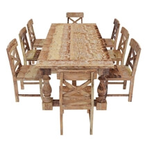 Britain Rustic Teak Wood 11 Piece Dining Room Set