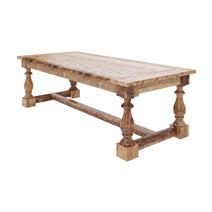 Britain Rustic Teak Wood Trestle Base 11 Piece Dining Room Set