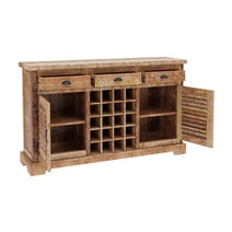 Britain Rustic Teak Wood Large Wine Bar Buffet Cabinet with Wine Display Rack