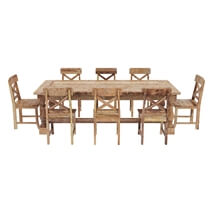 Britain Rustic Teak Wood Trestle Base Dining Table and Chair Set