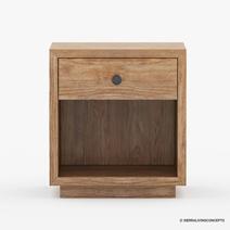 Britain Rustic Teak Wood 1 Drawer Bedside Nightstand