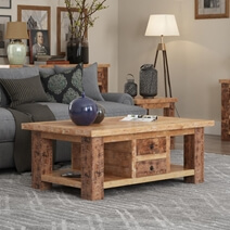 Britain Handcrafted Rustic Teak Wood Coffee Table
