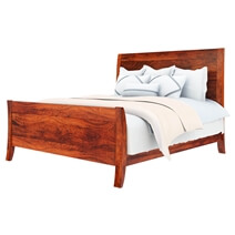 Georgia Solid Wood Handmade Platform Bed Frame With Curved Headboard