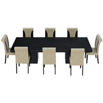Urban Rustic Solid Wood Large Dining Table & Leather Parson Chairs