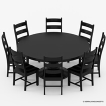 Nottingham Black Solid Wood Pedestal Base 10 Piece Dining Room Set