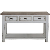Penn Rugged White Distressed Recycled Teak & Solid Wood Console Table