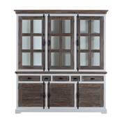 Danville Modern Teak and Solid Wood Glass Door 5 Drawer China Hutch