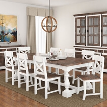 Danville Two Tone Solid Wood Trestle Baluster Farmhouse Dining Table
