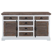 Danville Modern Teak and Solid Wood 6 Drawer Large Sideboard