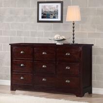 Octa Stylish Handcrafted Mahogany Wood 9 Drawer Triple Dresser