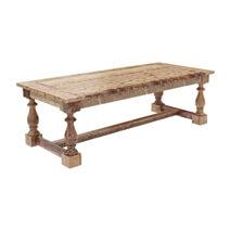 Large Britain Rustic Teak Wood Trestle Baluster Dining Table