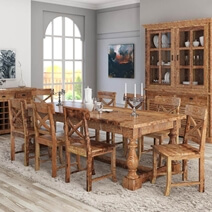 Large Britain Rustic Teak Wood Trestle Baluster Dining Table