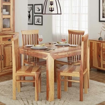 Ostrander Natural Solid Rosewood Square Dining Table