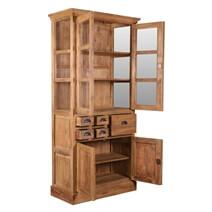 Hameldon Rustic Reclaimed Teak Wood Glass Door Dining Hutch Cabinet