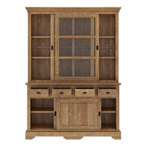Brussels Reclaimed Teak Wood Sliding Glass Door 4 Drawer China Cabinet