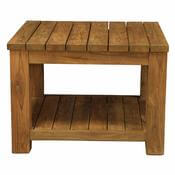 Cainhoe Rustic Reclaimed Teak Wood 2 Tier Square Plank Coffee Table