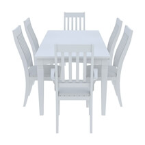 Ennis Solid White Mahogany Wood 8 Piece Dining Room Set