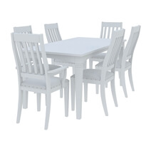 Ennis Solid White Mahogany Wood Dining Table & Chair Set