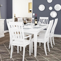 Ennis Solid White Mahogany Wood Rectangular Dining Table