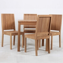 Ottoville Stylish Weather Resistant Teak Wood Outdoor Dining Table Set